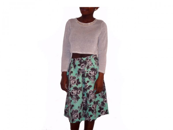 ASOS Quilted Midi Skirt In Floral Print