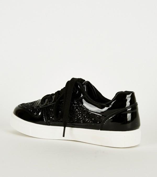 shinning black trainers