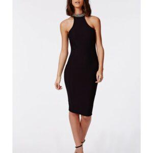 black chain midi dress