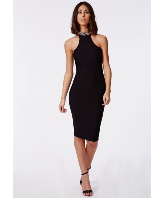 black chain midi dress