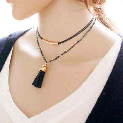 tassle choker necklace