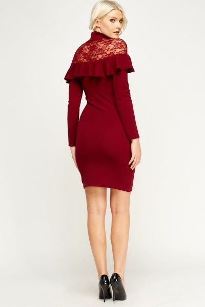 maroon-lace-insert-frilled-high-neck-dress-54176-2
