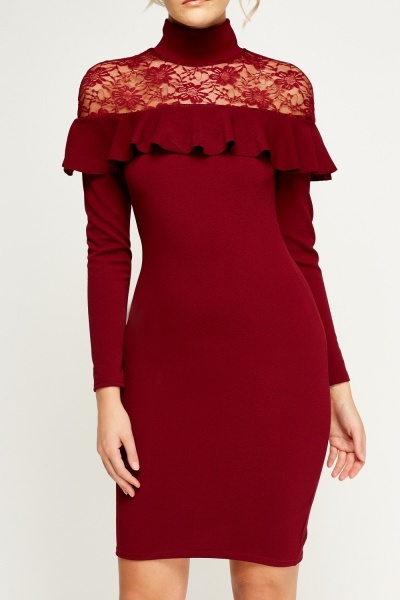 maroon-lace-insert-frilled-high-neck-dress-54176-3
