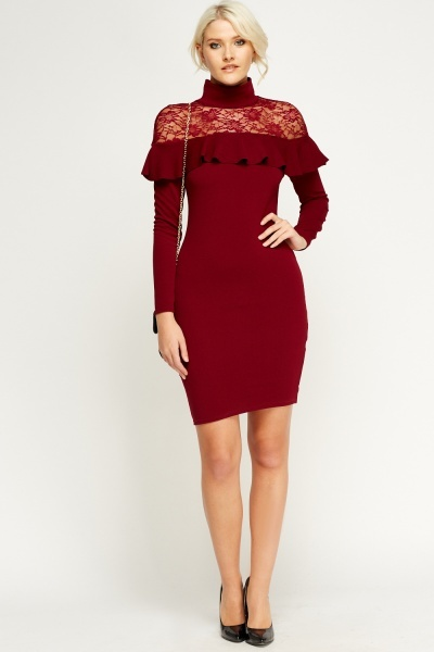 maroon-lace-insert-frilled-high-neck-dress-maroon-54176-4