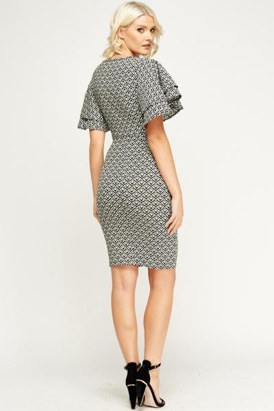 flare-sleeve-midi-dress
