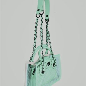 small mint green transparent bag