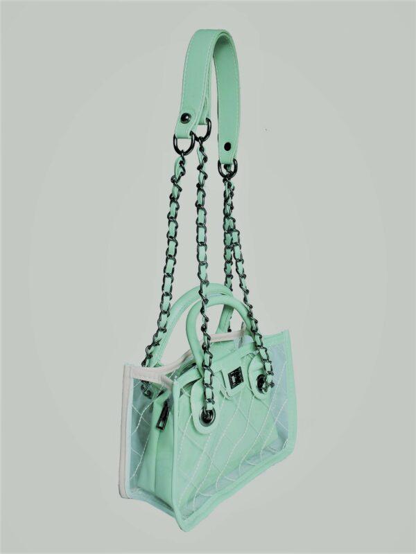 small mint green transparent bag
